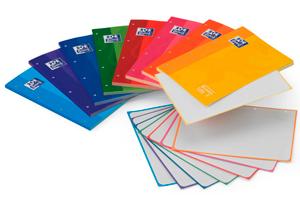 Tacos de 80 hojas de papel con marco de colores, cuadrícula de 5 milímetros impresa y 4 taladros para carpetas de anillas