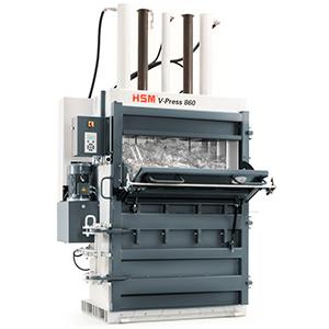 Prensa compactadora enfardadora de balas de PET vertical HSM V-Press 860 P