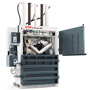 Prensa compactadora enfardadora de balas de plástico duro y materiales expansivos vertical HSM V-Press 860 S