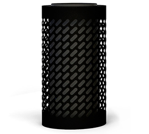 Papelera de diseño con tapa cenicero Impression Rack en negro