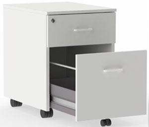 Buck móvil de melamina para mesa de oficina Actiu en acabado blanco con ruedas y cajón para archivar carpetas colgantes