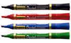 Rotuladores permanentes de punta biselada Pentel N850 en caja de 12 en colores azul, rojo, negro y verde