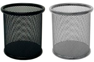 Cubilete portalápices sobremesa para escritorio negro o gris plata
